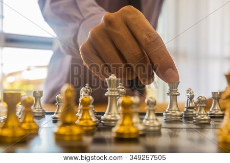 Business Man In Office And Chess Business Leader Success Idea. Working On Making Business Plan, Busi