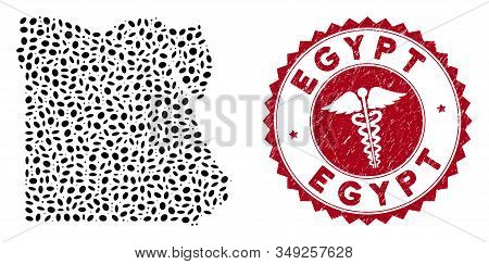 Vector Collage Egypt Map And Red Round Grunge Stamp Seal With Caduceus Icon. Egypt Map Collage Desig