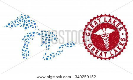 Vector Collage Great Lakes Map And Red Rounded Distressed Stamp Seal With Caduceus Sign. Great Lakes