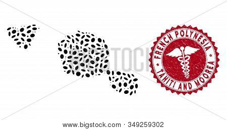 Vector Collage Tahiti And Moorea Islands Map And Red Round Grunge Stamp Watermark With Doctor Sign.