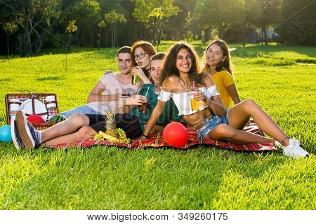 Portrait Of Cheerful Young People On Picnic Party.