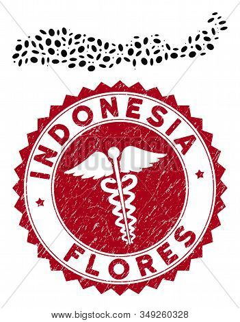 Vector Mosaic Flores Island Of Indonesia Map And Red Rounded Corroded Stamp Watermark With Caduceus