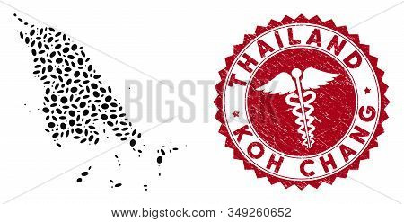 Vector Collage Koh Chang Map And Red Round Corroded Stamp Watermark With Medicine Symbol. Koh Chang