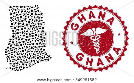 Vector Mosaic Ghana Map And Red Rounded Grunge Stamp Seal With Medic Symbol. Ghana Map Collage Desig