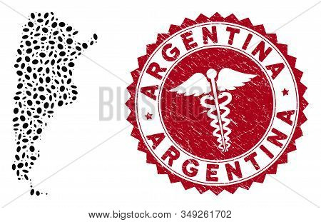 Vector Collage Argentina Map And Red Rounded Rubber Stamp Seal With Medical Symbol. Argentina Map Co