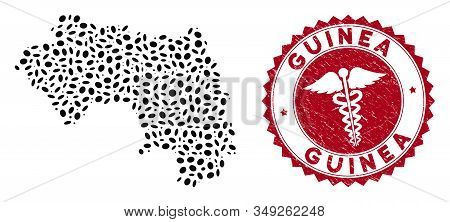 Vector Mosaic African Guinea Map And Red Rounded Corroded Stamp Seal With Caduceus Sign. African Gui