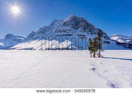 Winter Wonderland At Bow Lake In Banff National Park, Alberta, Canada