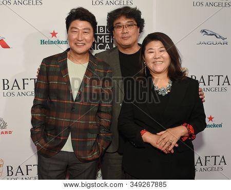 LOS ANGELES - JAN 04:  Song Kang-Ho, Bong Joon-Ho and Lee Jeong-Eun arrives for the The BAFTA Los Angeles Tea Party 2020 on January 04, 2020 in Los Angeles, CA