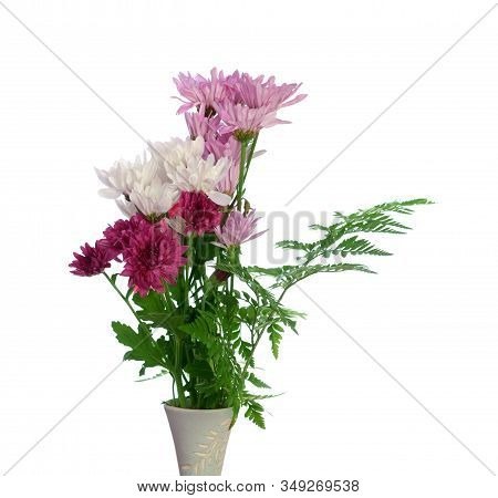 A Bouquet Of Daisy Flowers In Vase Isolated On White