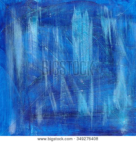 Bright Blue Abstract Watercolor Textured Background With Strokes