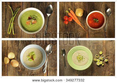 Collage of four different soups as leek, asparagus, potato and vegetables