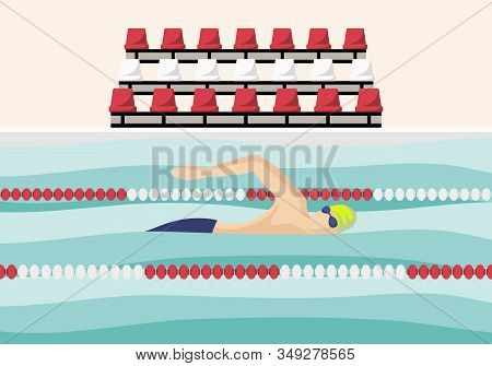 Swimmer Is Swimming Along The Path In The Pool. Round Sport Illustration. Male Cartoon Character. Fl