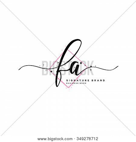 F A Fa Initial Letter Handwriting And  Signature Logo. A Concept Handwriting Initial Logo With Templ