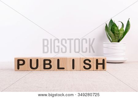 Wooden Cube With Word Publish On A Light Background. Concept Image