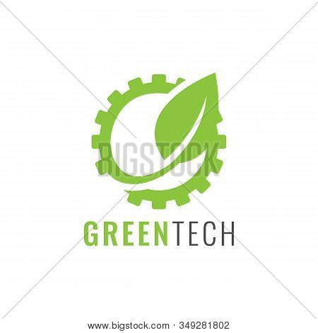 Industry And Nature Logo - Gear Wheel Or Pinion And Sprout With Leaves Symbol. Green Power And Alter