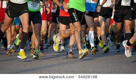 VALENCIA, SPAIN - NOVEMBER 27: Runners compete in the 31st Divina Pastora Valencia Marathon on November 27, 2011 in Valencia, Spain.