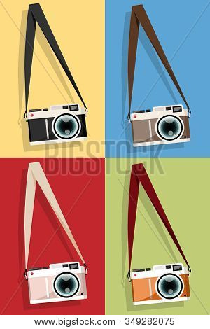 Set Of Camera Vintage Hanging On A Screw Icon, Flat Style With Long Shadows On Colored Background.
