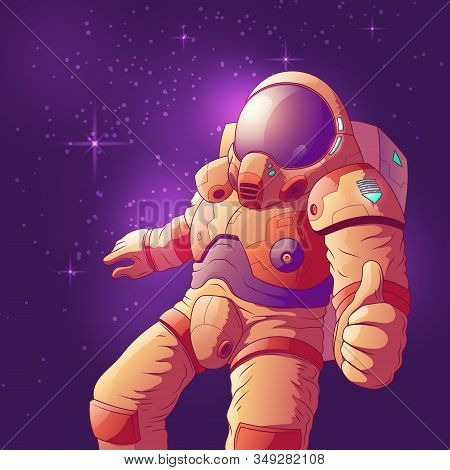 Astronaut In Futuristic Spacesuit Showing Thumb Up Hand Sign, Flying In Weightlessness Cartoon Illus