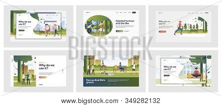 Set Of People Spending Leisure Time In Nature Parks. Flat Vector Illustrations Of People Roller Skat