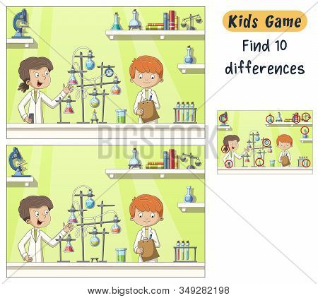 Find 10 Differences. Funny Cartoon Game For Kids, With Solution. Hand Drawn Vector Illustration With
