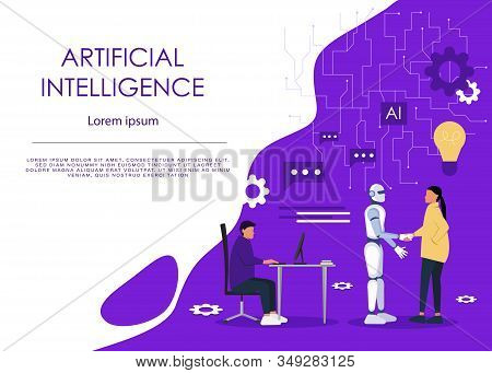Ai or artificial intelligence vector concept with ai robot handshake with human. Ai symbol. Symbol of future cooperation, ai, technology advance, Ai innovation. Eps10 vector illustration.