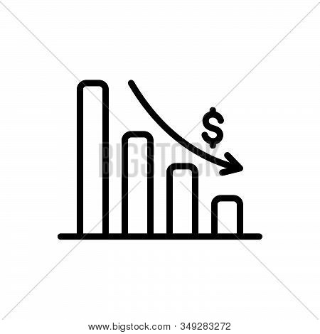 Black Line Icon For Depleting-chart Analytics App Corporate Interface Chart Graph Stroke Depleting