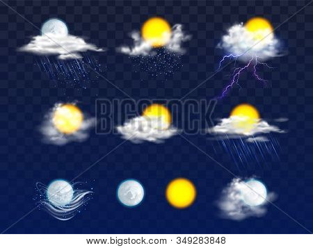 Sun And Moon Disks Clear And In Clouds With Rain And Snow Icons 3d Realistic Set Isolated On Backgro