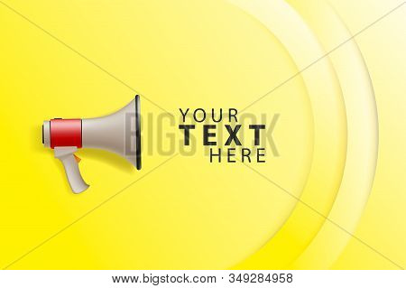 Advertisement Promo Marketing Template With Loudspeaker Megaphone. Concept Vector Illustration.