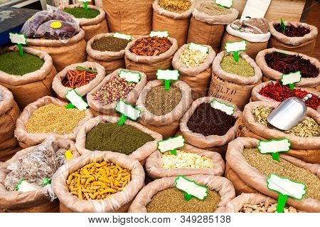 Background With Bags With Various And Herbs At The Mahane Yehuda Market In Jerusalem, Israel