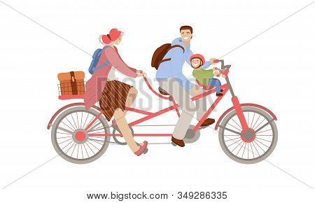 Vector Cartoon Illustration Of Happy Family Riding A Co-pilot Bike Trailer, Bicycle With Two Adults