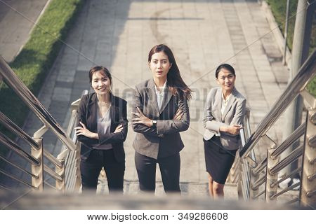Power Of Young Business Woman Leader Team Working Together To Reach Business Goal With Confident And