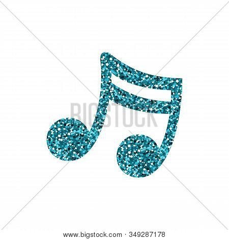Blue Musical Note. A Spangle Texture. Vector Illustration.