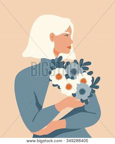 Beauty Woman With Blond Hair Holding A Bouquet Of Spring Flowers. Vector Concept Of Pastel Colors Fo
