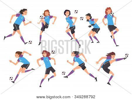 Girls Playing Soccer Collection, Young Women Football Players Characters In Sports Uniform Kicking T