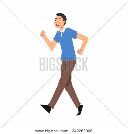 Successful Young Man In Casual Clothes Running To Finish Line, Team Leader Professional Competition