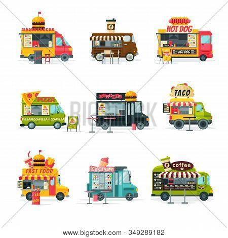 Food Trucks Collection, Street Meal Vehicles, Fast Food Delivery, Mobile Shops, Hamburgers, Coffee,