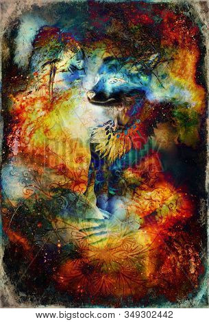 Beautiful Shamanic Fox Man And Indian Woman With Headband On Abstract Structured Space Background.