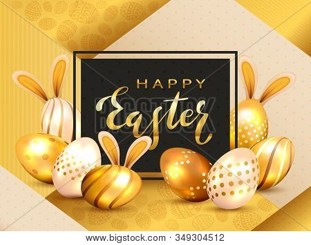 Golden Lettering Happy Easter On Black Card And Easter Eggs With Luxury Elements And Rabbit Ears On