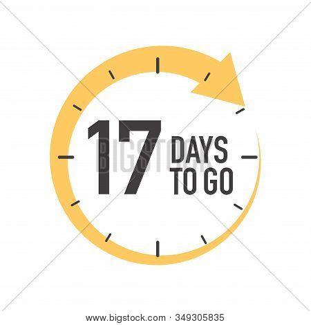 Seventeen Days To Go Icon. Round Symbol With Yellow Arrow.