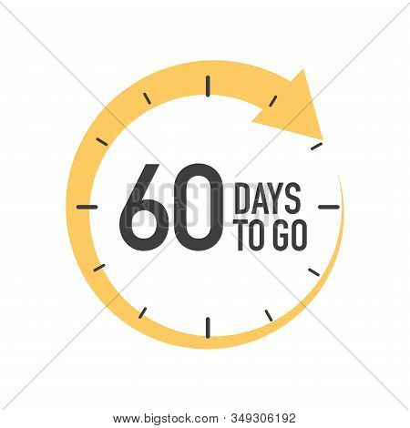 Sixty Days To Go Icon. Round Symbol With Yellow Arrow.