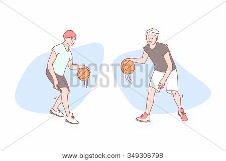 Guys Play Basketball Set Concept. Happy Stylish Man Student Is Standing And Dribbles Ball With Hand.