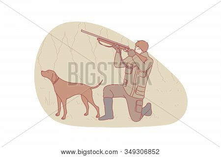 Hunter, Hunting, Dog Concept. Young Concentrated Man Hunter Is Holding Air Gun And Aiming Upward. Fo