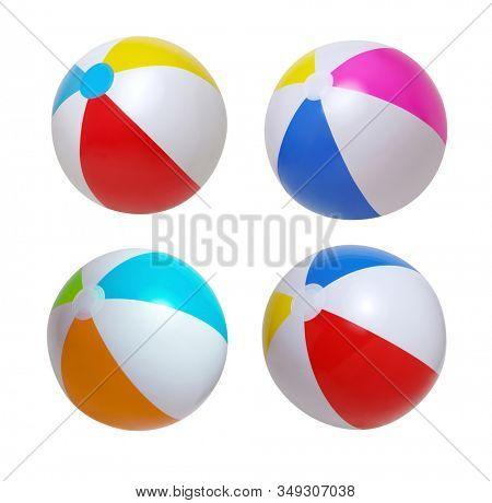 Beach balls set isolated on white background