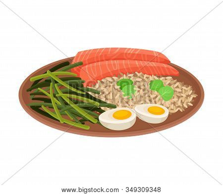 Appetizing Thai Food Of Rice With Salmon Slices And Green Beans Served On Ceramic Plate Side View Ve