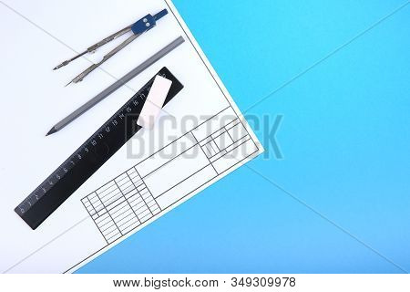 Background With Drafting Accessories And Drafting Paper