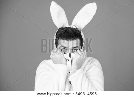 Man Handsome Face Wear White Bunny Ears. Easter Bunny. White Bunny Symbol Of Easter Holiday. Soft An