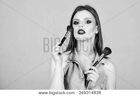 Emphasize Femininity. Makeup Artist Concept. Girl Apply Powder Eye Shadows. Looking Good And Feeling