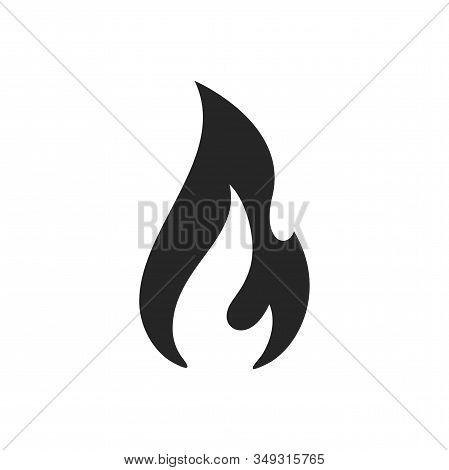 Fire Flame Burn, Vector Black Line Icon. Flammable Warning Or Spicy Food Label, Burning Hot Fire Fla