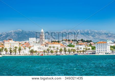 Croatia, Adriatic Coast, City Of Split, View On Waterfront Seascape And Cathedral Tower