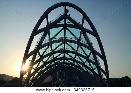 Dazzling Sun Shining Through The Bridge Of Peace, Stunning Landmark Of Tbilisi, Georgia, 11th Oct 20